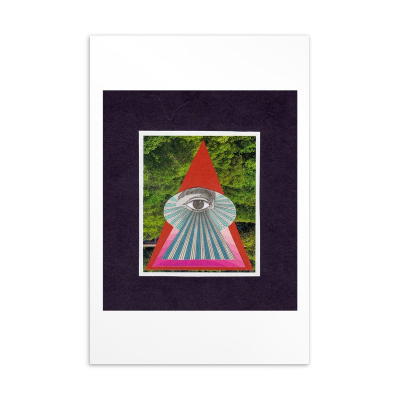 Decor Wall Art Abstract Whimsical Analog Collage Watching Collage Postcard Print Unique Gift
