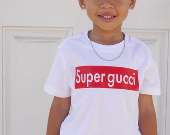 ae06cc1be4adf Super gucci Inspired- Baby Toddler Youth Kids Unisex White Graphic T-shirt  Tee