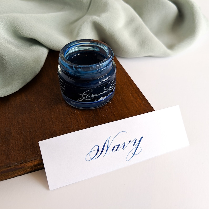 Navy Calligraphy Ink modern calligraphy copperplate image 0
