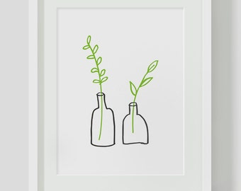 Minimalist Small Plants INSTANT DOWNLOAD Illustration Art, Green Poster, Minimalist, Illustration Artwork, Digital Art, Leaf Poster, 24x36