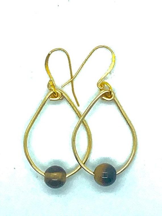 Tigers Eye Gold Oval Hoops -Ayurveda Spiritual Jewelry, Ayurveda Superfood - AlohaVeda - Made on Maui - Ayurveda Maui