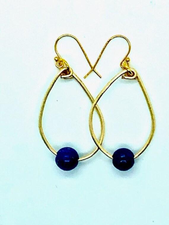 Lapis Gold Hoops - Ayurveda Spiritual Jewelry, Ayurveda Superfood - AlohaVeda - Hand Made on  Maui - Day  Saturday - Saturn  - Ayurveda Maui