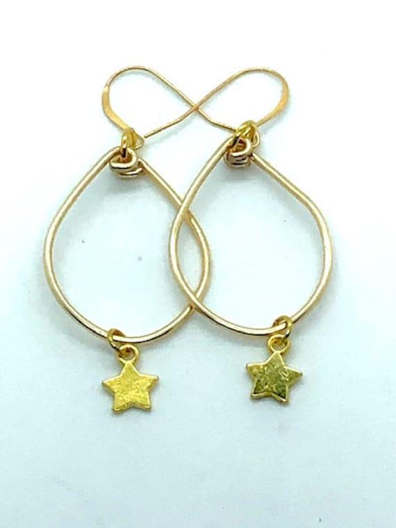 Golden Star Hoops - Ayurveda Spiritual Jewelry - Ayurveda Superfood - AlohaVeda - Hand Made on Maui - Ayurveda Maui