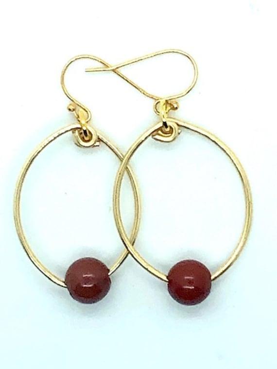 Red Jade Gold Hoops - Spiritual Jewelry - Conscious Jewelry - Alohaveda - Ayurveda Superfood - Made on Maui - Ayurveda Hawaii