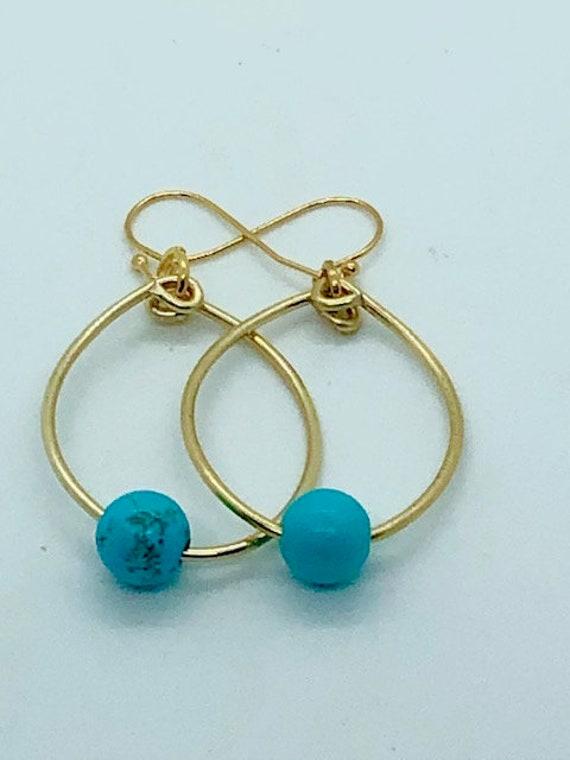 Ocean Turquoise Hoops - Gold - Ayurveda Spiritual Jewelry, Ayurveda Superfood - Healing Energy - detox - Ayurveda Maui - Hand made