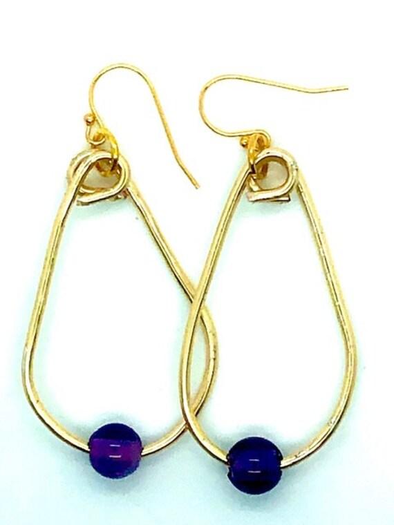 Amethyst Gold Hoops Large - Spiritual Jewelry - AlohaVeda - Ayurveda Superfood - Hawaii - Hand Made on Maui - Ayurveda -