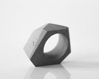 Modern concrete ring TTSF | Geometric ring from the original concrete jewelry collection ORTOGONALE. Minimalist ring, modern ring architect