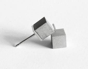 earrings Concrete & Silver 925 CUBO, concrete and silver earrings, concrete jewelry, Architectural earrings, Minimal earrings, Stud earrings