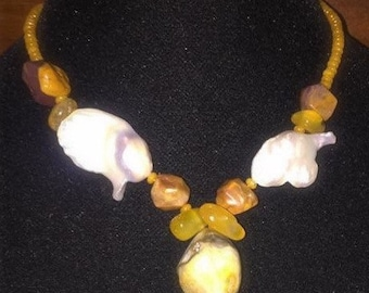 Baroque Pearl, Yellow Agates, ,crystal