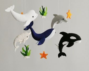 Baby mobile whale nursery ocean, baby crib mobile boy sea creatures, baby shower gift newborn boy, navy blue nursery decor neutral mobile