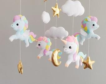 Unicorn baby mobile girl, baby shower gift newborn personalised, unicorn nursery decor girl, pegasus crib mobile, stars cloud nursery mobile