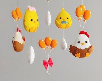 Farm baby mobile, chicken nursery mobile, baby shower gift, gender neutral baby mobiles, nursery decor farm animals, baby mobile balloons