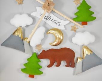 Bear baby mobile, woodland crib mobile, nursery mobile forest, mobile baby girl, baby shower gift boy hanging mobile