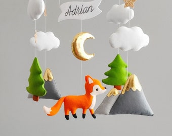 Fox baby mobile, woodland baby shower gift, fox nursery decor, animals forest mobile, hanging crib mobile music