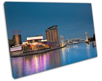 city of Manchester lowry bridge Salford quays at Night Ready to Hang X1513