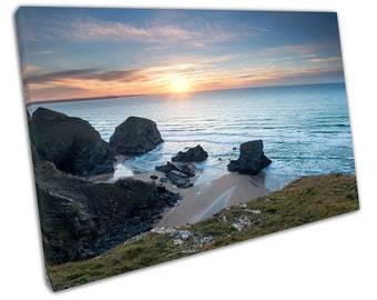 Thrift growing on cliffs above Bedruthan Steps Newquay Cornwall Canvas X1278