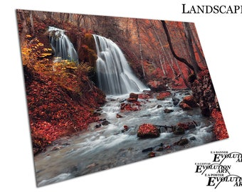 Beautiful waterfall and stream in a Red autumn leaf forest Poster print X1668