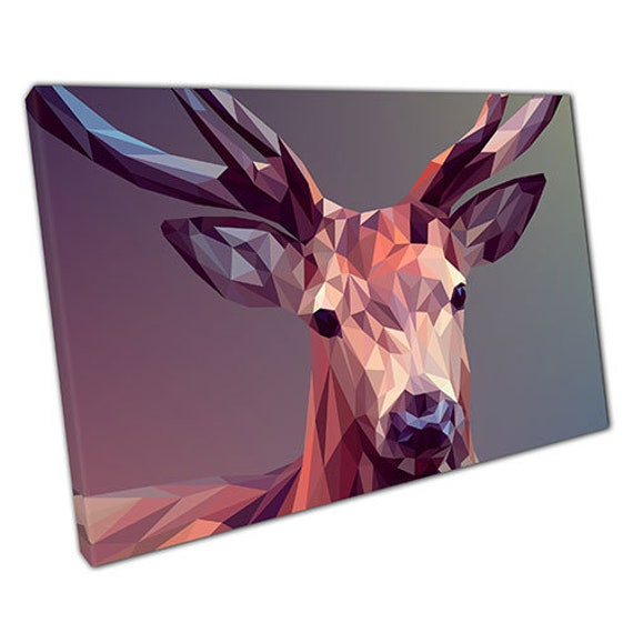 Print On Canvas Stag Graphic Angular Art Ready To Hang Canvas Etsy