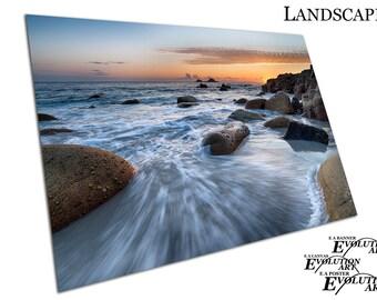 Sea worn boulders Porth Nanven near Lands End Cornwall Poster Print X1302