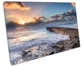 Beautiful golden sun rays over the stone pier Porthleven seascape Canvas X1031