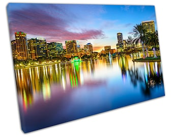 Water reflections Downtown Orlando Sunset Florida Ready to Hang X1502
