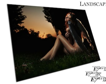 Young beautiful lady Angel with wings sunset forest Poster Print X1149