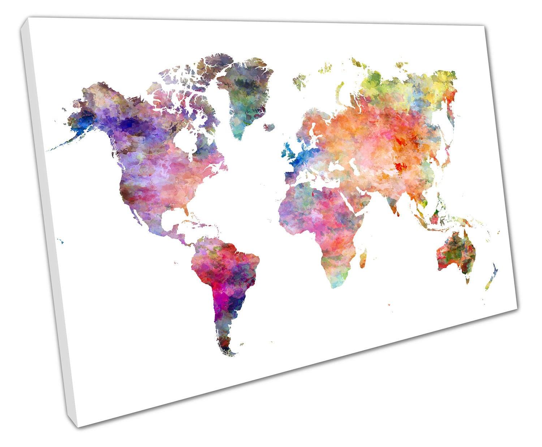 X1076 World map art watercolour Europe ASIA America AFRICA  Poster Print