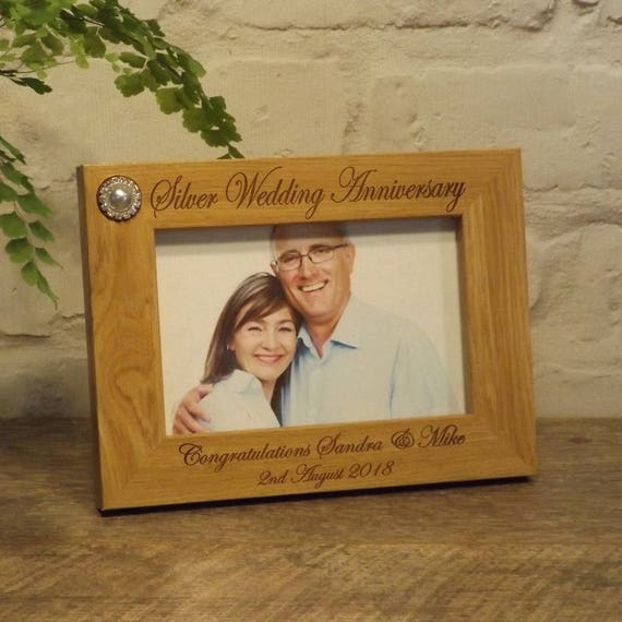 Personalised Engraved Photo Frame 25th Silver Wedding Etsy