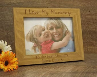 Personalised Engraved Wooden Photo Frame ~ I Love My Mummy ~ Mum ~ Mother's Day, Birthday, Christmas Gift