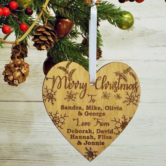 Fret Cut Heart Christmas Tree Decoration Ornament Set of 3 Acrylic Bauble
