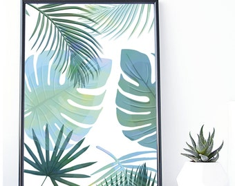 Banana Leaf print, Tropical Art,Instant Download, Palm Print, Tropical Poster,Palm Leaf,Tropical Wall Art, Wall Decor, Leaf Print,Printable