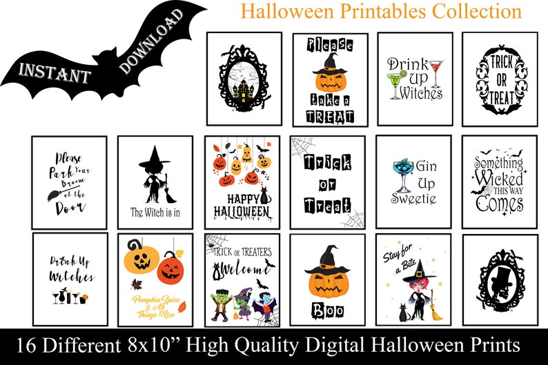 graphic about Happy Halloween Signs Printable known as Halloween Get together Printable Deal, Enjoyment Celebration Indications, 8x10 ,Instantaneous Down load , Do it yourself Printable Halloween Decorations ,Fixed of 16,Occasion Printables
