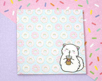 Donut Sticky Notes - Coffee Cup Sticky Notes - Cat Sticky Notes - Adhesive Notes - Stationery Pad - Donut Stationery - Planner Sticky Notes