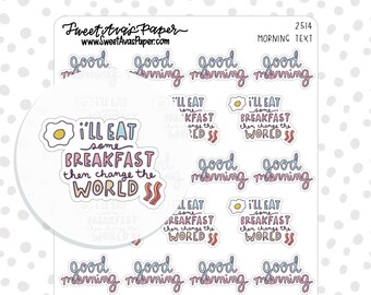 Breakfast Planner Stickers - Morning Planner Stickers - Food Planner Stickers - Goals Planner Stickers - Motivation Planner Stickers - 2514
