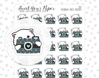 Camera Planner Stickers - Cat Planner Stickers - Photography Planner Stickers - Wednesday Planner Stickers - Sunday Planner Stickers - 1154