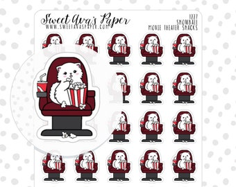 Movie Night Planner Stickers - Popcorn Planner Stickers - Cat Stickers - Character Sticker - Doodle Planner Stickers - Hand Drawn - 1227