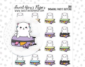 Luggage Planner Stickers - Travel Planner Stickers - Vacation Planner Stickers - Hand Drawn Stickers - Cat Planner Stickers - 2180