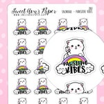 Positive Vibes Planner Stickers - Peace Planner Stickers - Rainbow Planner Stickers - Hand Drawn Stickers - Cat Planner Stickers - 2161