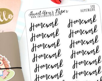 Homework Planner Stickers - Word Art Planner Stickers - Lettering Planner Stickers - School Planner Stickers - Fits Most Planners - 348