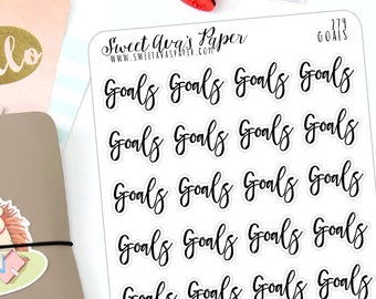 Goals Planner Stickers - Script Planner Stickers - Lettering Planner Stickers - Goal Planner Stickers - Fits Most Planners - 274