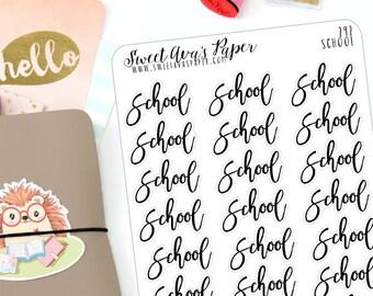 School Planner Stickers - Script Planner Stickers - Homework Planner Stickers - Typography Planner Stickers - Fits Most Planners - 292