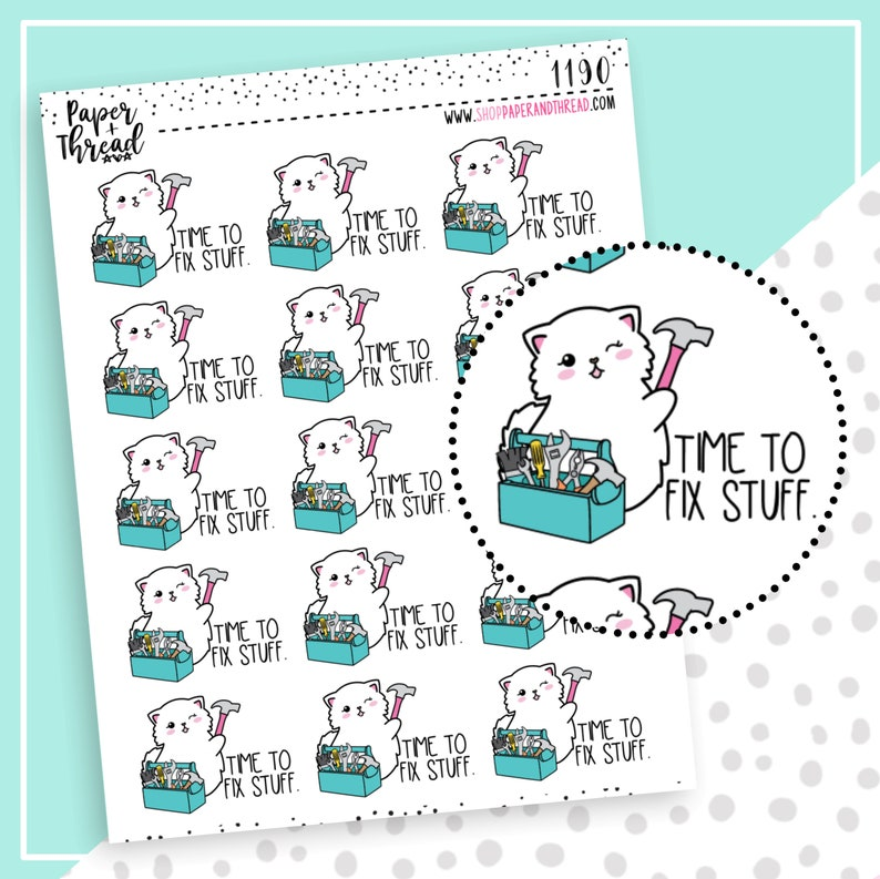 House Repair Planner Stickers  Fix Things Stickers  Hand image 0