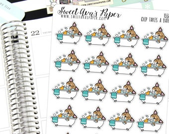 Bubble Bath Planner Stickers - Relaxing Planner Stickers - Bath Planner Stickers - Mom Stickers - Dog Planner Stickers  - 1558