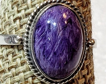 size T 12 , 10 Russia 20x28mm stone rich purple stone from Siberia Charoite ring in 925 Sterling Silver