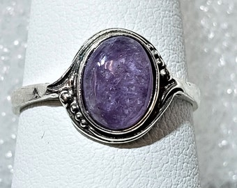 Pear Shape Can Be Personalized 925 Sterling Silver Sale Ring Purple Color Stone Gemstone Ring Designer Charoite Ring Silver Band Ring
