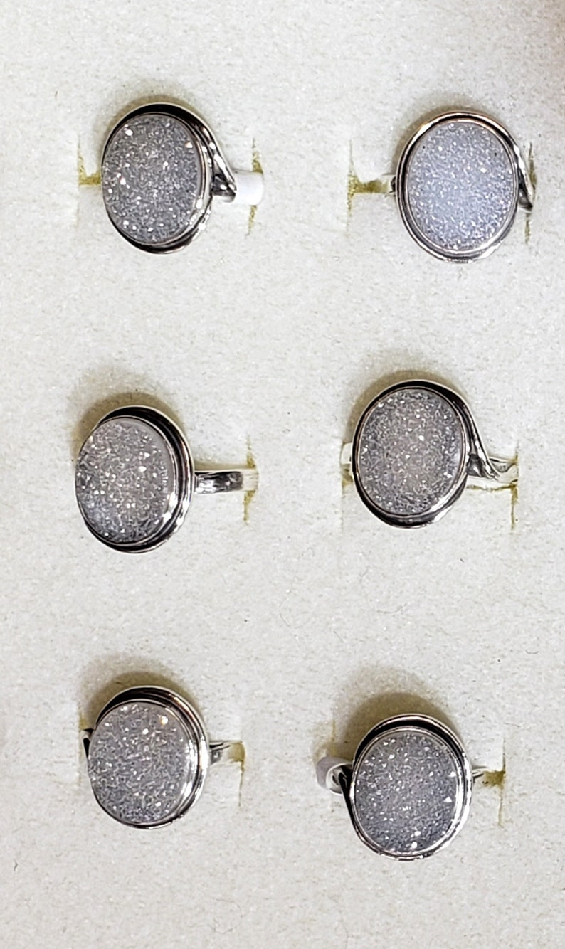 Magic Great sparkling Druzy silver 925 mark ring szs 4-12 cabochon stone sz 10 x 12 mm gift box included