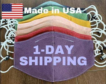 Mask With Filter Pocket Multilayer Purple Made In USA Adult Washable Handmade Polypropylene filter Light Pink Black Gray Blue Dark Green Red