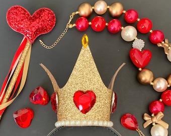 Queen Of Hearts Crown Set,Queen Of Hearts Headband,Alice in wonderland Queen Crown,Queen Of Hearts Costume,Queen of heart,Red Queen Crown