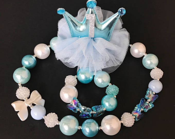 Cinderella crown,Birthday Crown Headband,birthday gift,gift for girl,cake smash,blue crown,Cinderella theme,cinderella necklace,sky blue