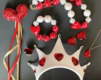 Queen Of Hearts Crown Set,Red Heart Crown,Alice in wonderland Queen Crown,Queen Of Heart Costume,Red Queen Crown Headband,Devil,Gold and Red